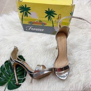 Forever 21 Metallic Silver Open Toe Ankle Heels 7